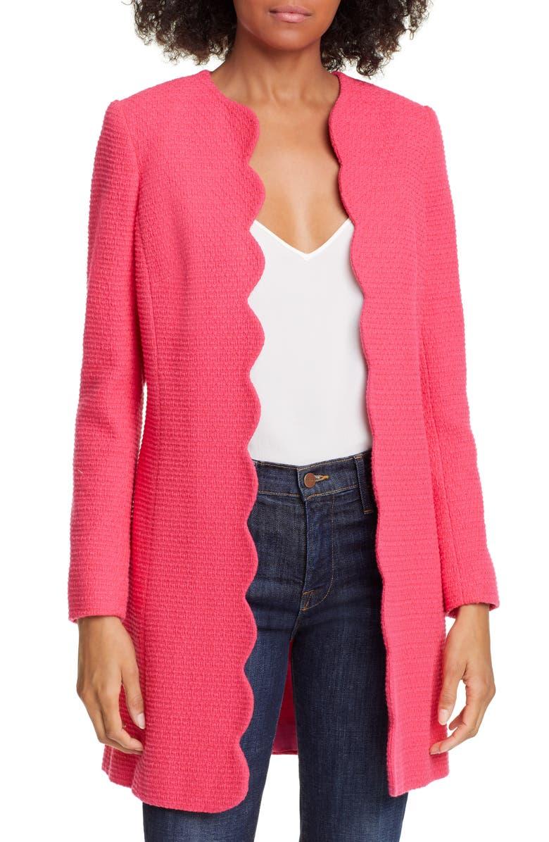 HELENE BERMAN Scallop Edge Cotton Blend Jacket, Main, color, FUCHSIA