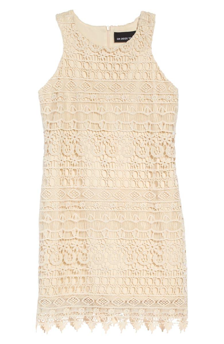 UN DEUX TROIS Sleeveless Lace Shift Dress, Main, color, IVORY