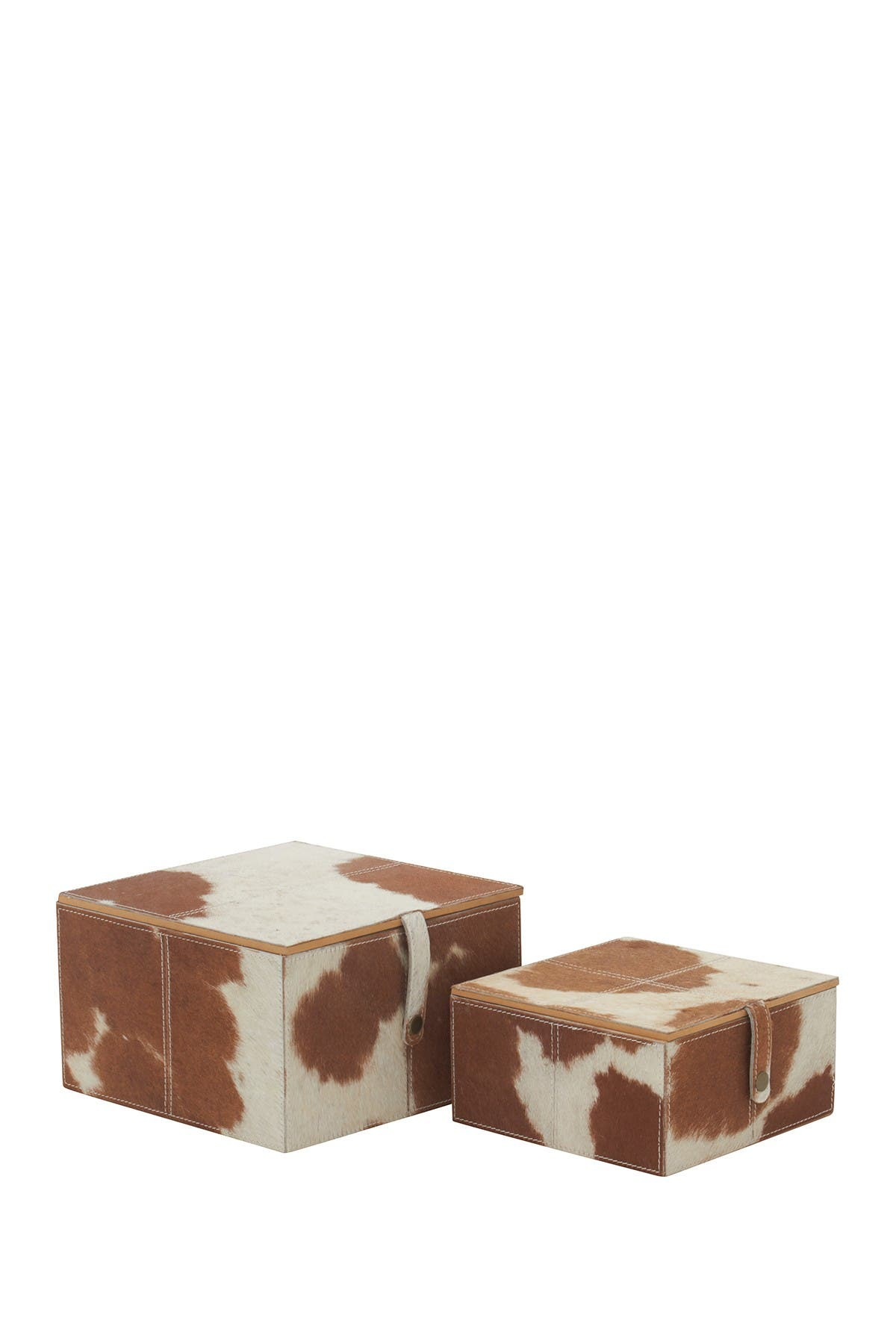 Image of Willow Row Square Brown and White Cowhide Leather Decorative Boxes - Set of 2