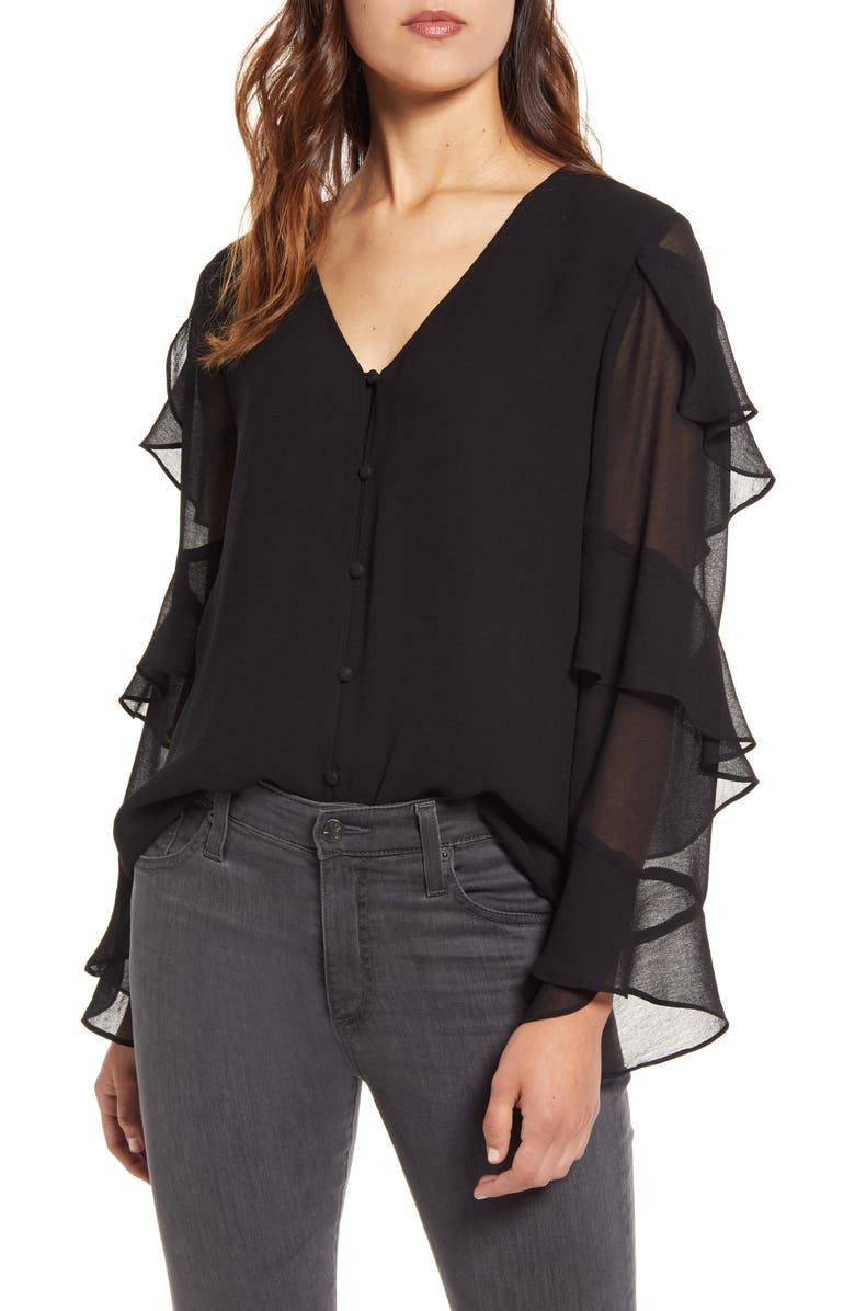 VINCE CAMUTO Tiered Sleeve Chiffon Blouse, Main, color, 006