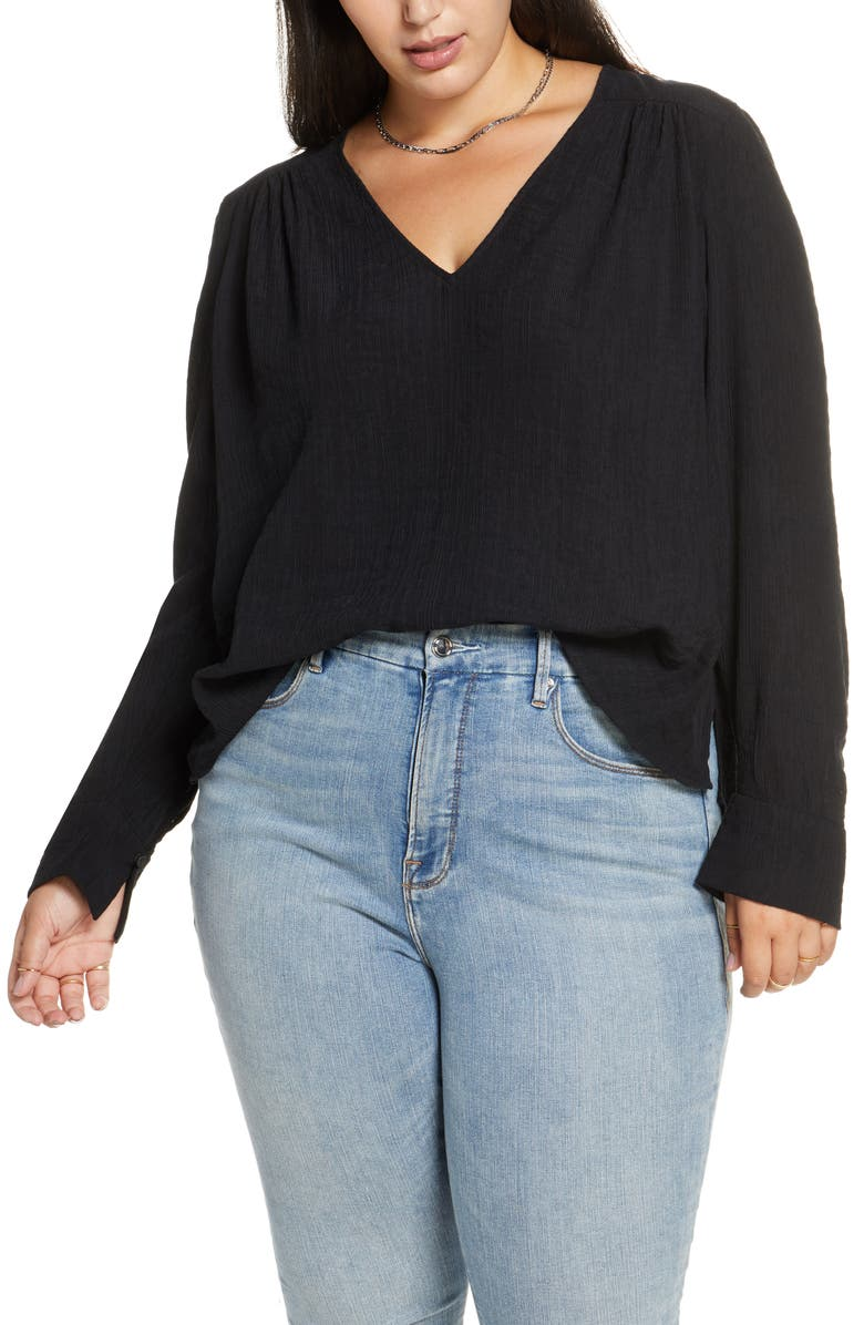TREASURE & BOND Pleated V-Neck Top, Main, color, BLACK