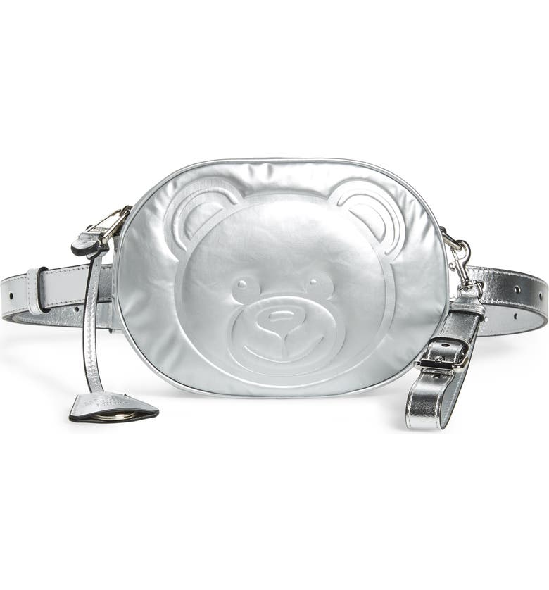 MOSCHINO Silver Teddy Belt Bag, Main, color, 045