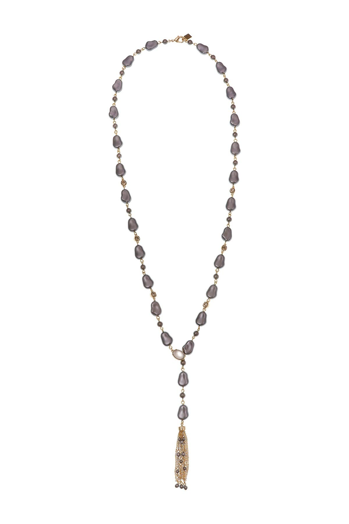 Image of Laundry By Shelli Segal Grey Glass Faux Pearl Tassel Necklace