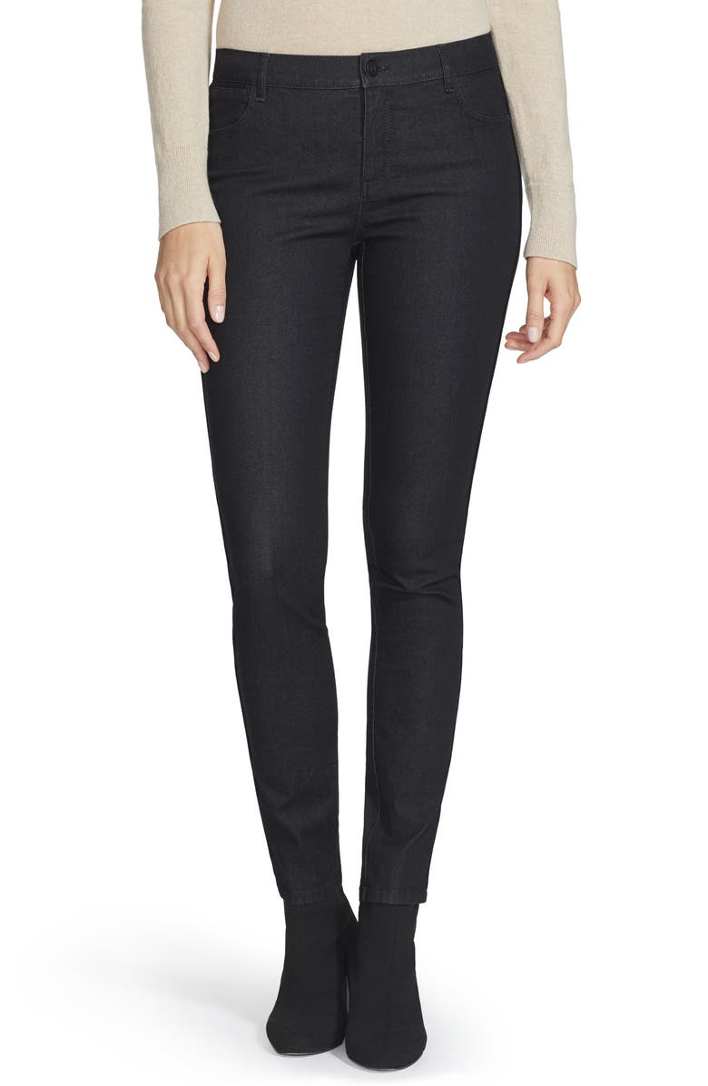 LAFAYETTE 148 NEW YORK Mercer Skinny Jeans, Main, color, BLACK