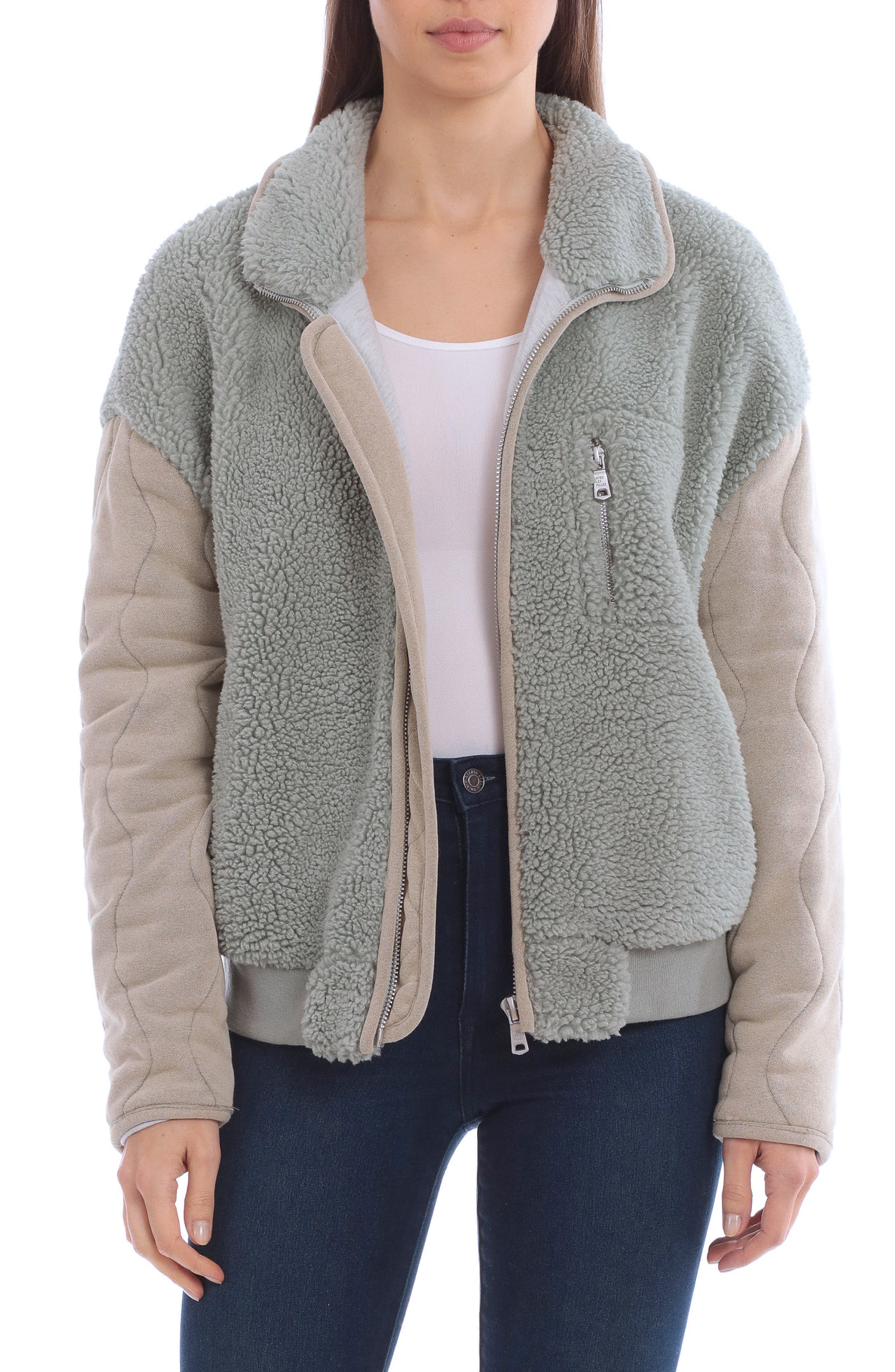 Mixed Media Quilted Sleeve Teddy Jacket