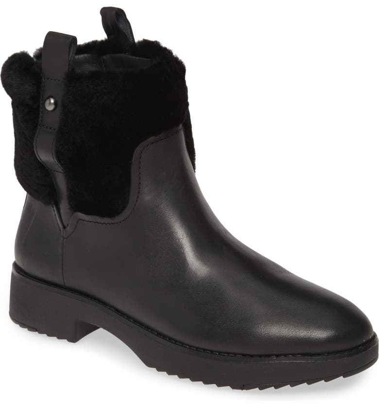 FITFLOP Mimie Genuine Shearling Trim Bootie, Main, color, ALL BLACK LEATHER