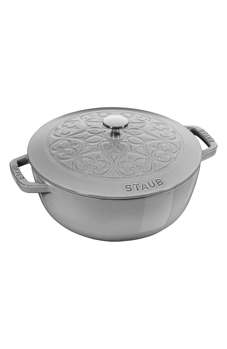 STAUB 3.75-Quart Enameled Lilly Lid Cast Iron French/Dutch Oven, Main, color, GRAPHITE