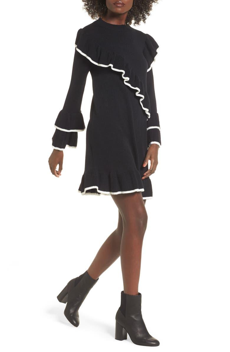 BP. Ruffle Knit Sweater Dress, Main, color, 001
