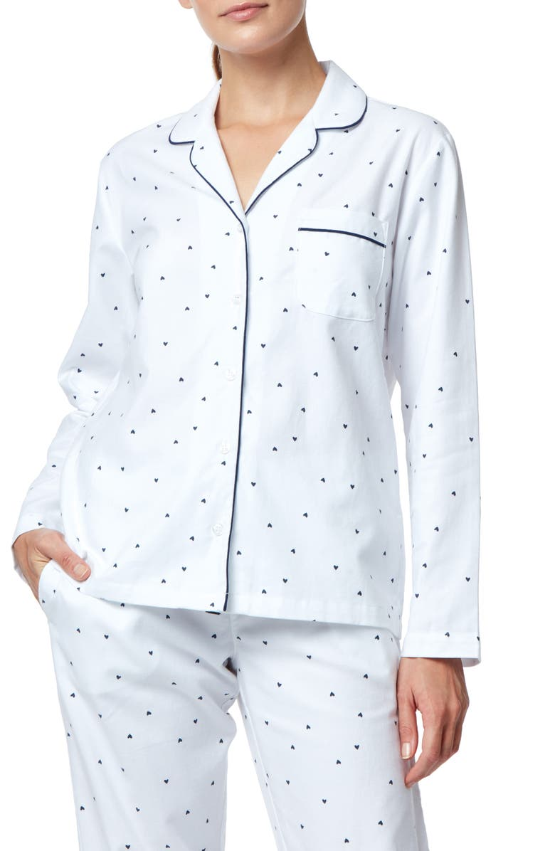 THE WHITE COMPANY Heart Print Flannel Pajama Top, Main, color, 400