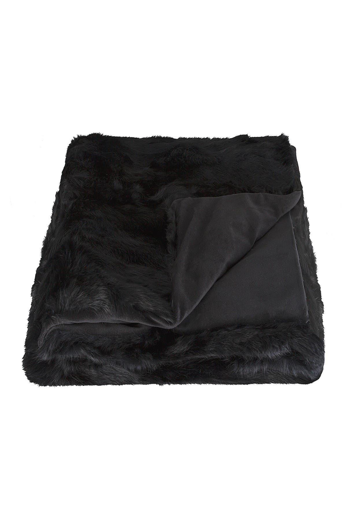 "Image of Natural Genuine Rabbit Fur Throw Blanket - 50"" x 60"" - Black"