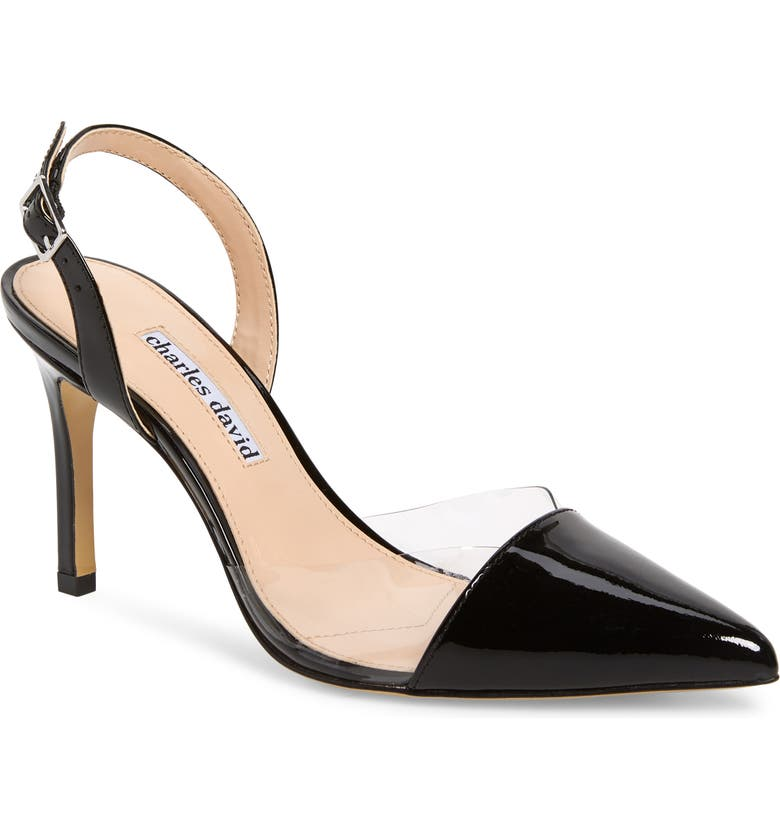 CHARLES DAVID Daryl Slingback Pump, Main, color, BLACK/ CLEAR PATENT LEATHER