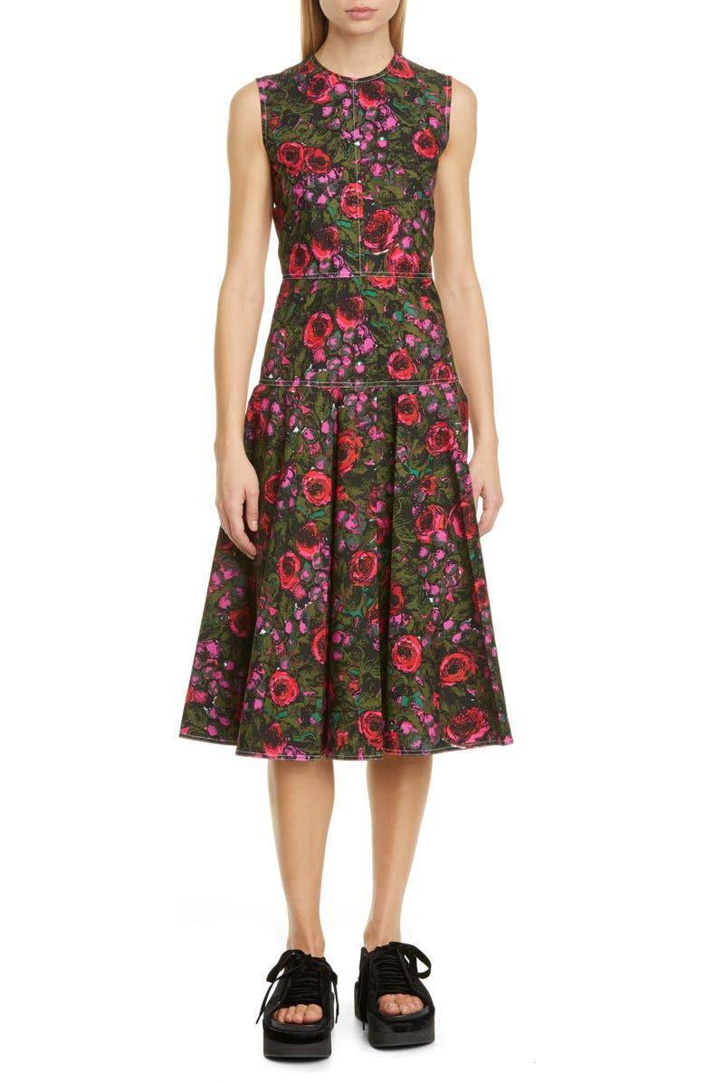 MARNI Floral Sleeveless Cotton Poplin Midi Dress, Main, color, STARLIGHT PINK
