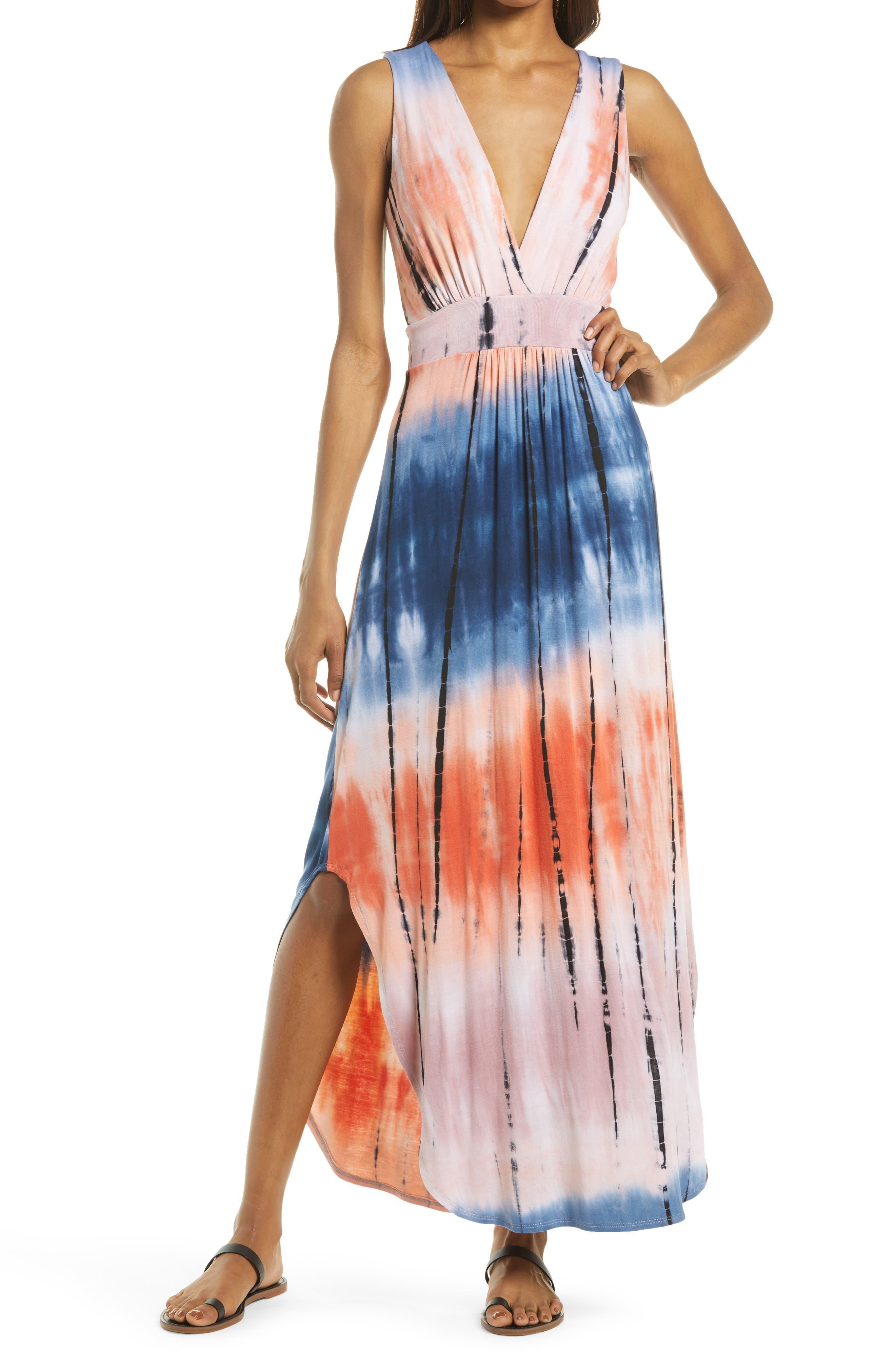 Tie Dye V-Neck Jersey Dress