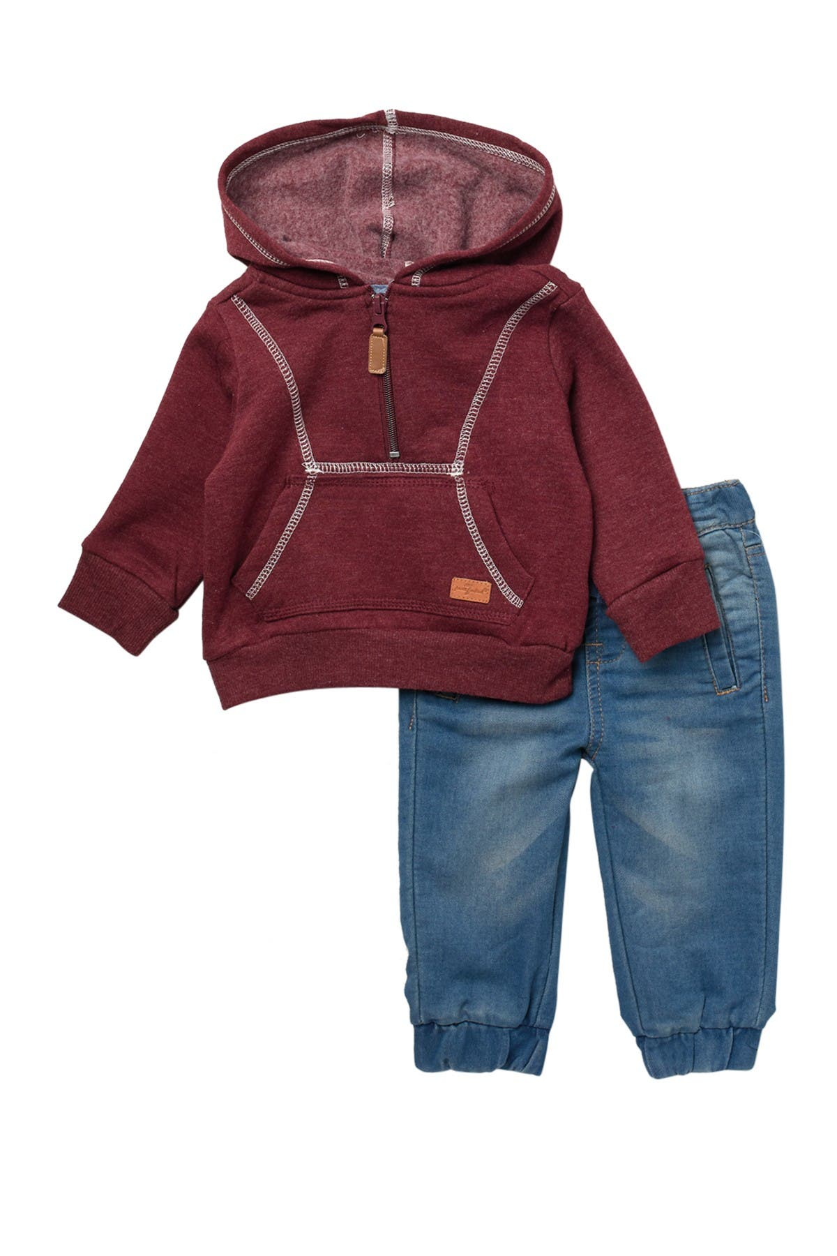 Image of 7 For All Mankind Hooded Sweatshirt & Denim Joggers Set