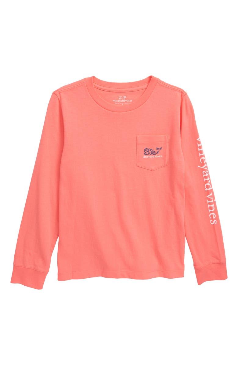 VINEYARD VINES Crab Stamp Long Sleeve Pocket T-Shirt, Main, color, MAI TAI