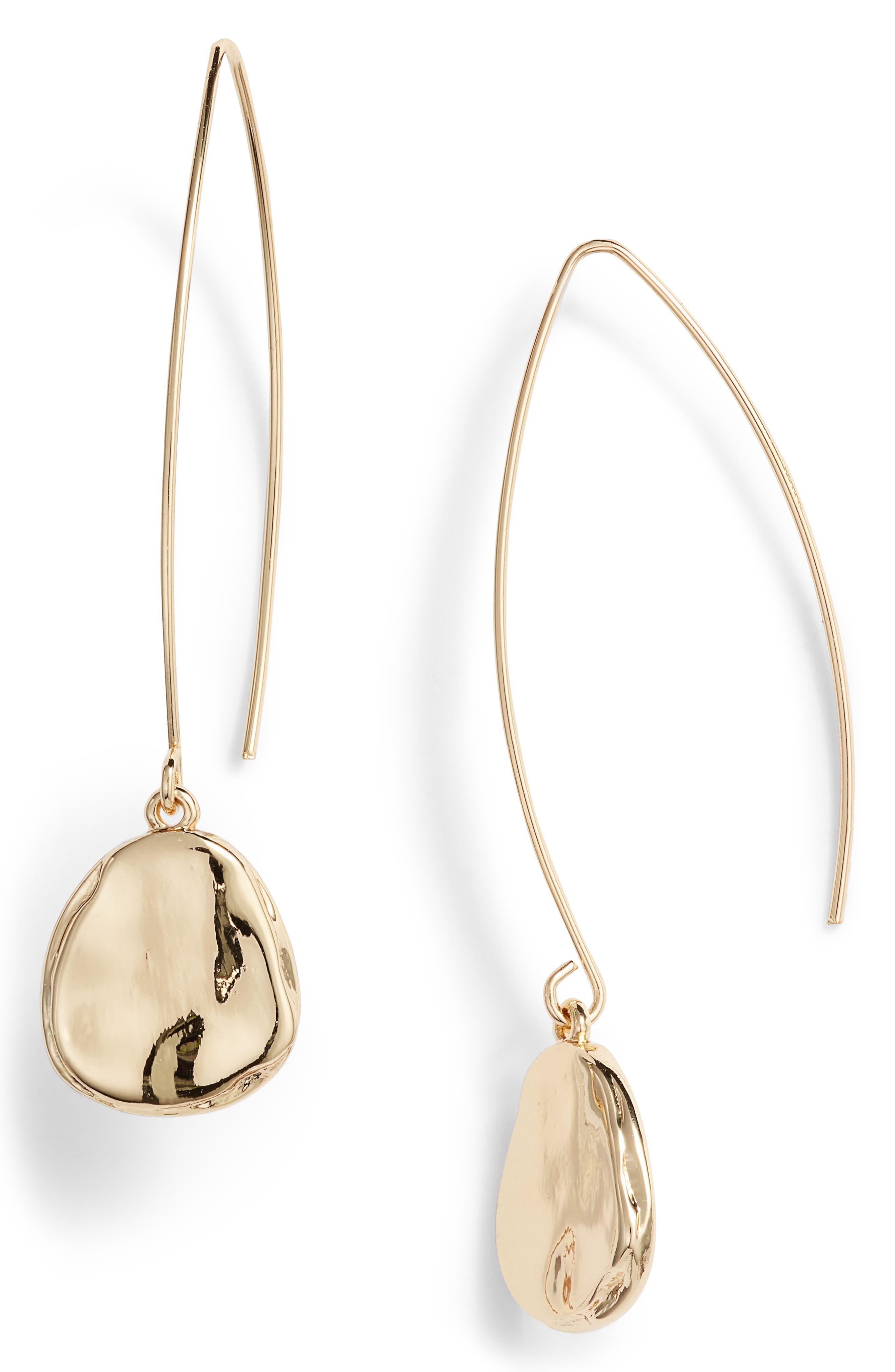 Organic Drop Earrings, Main, color, GOLD