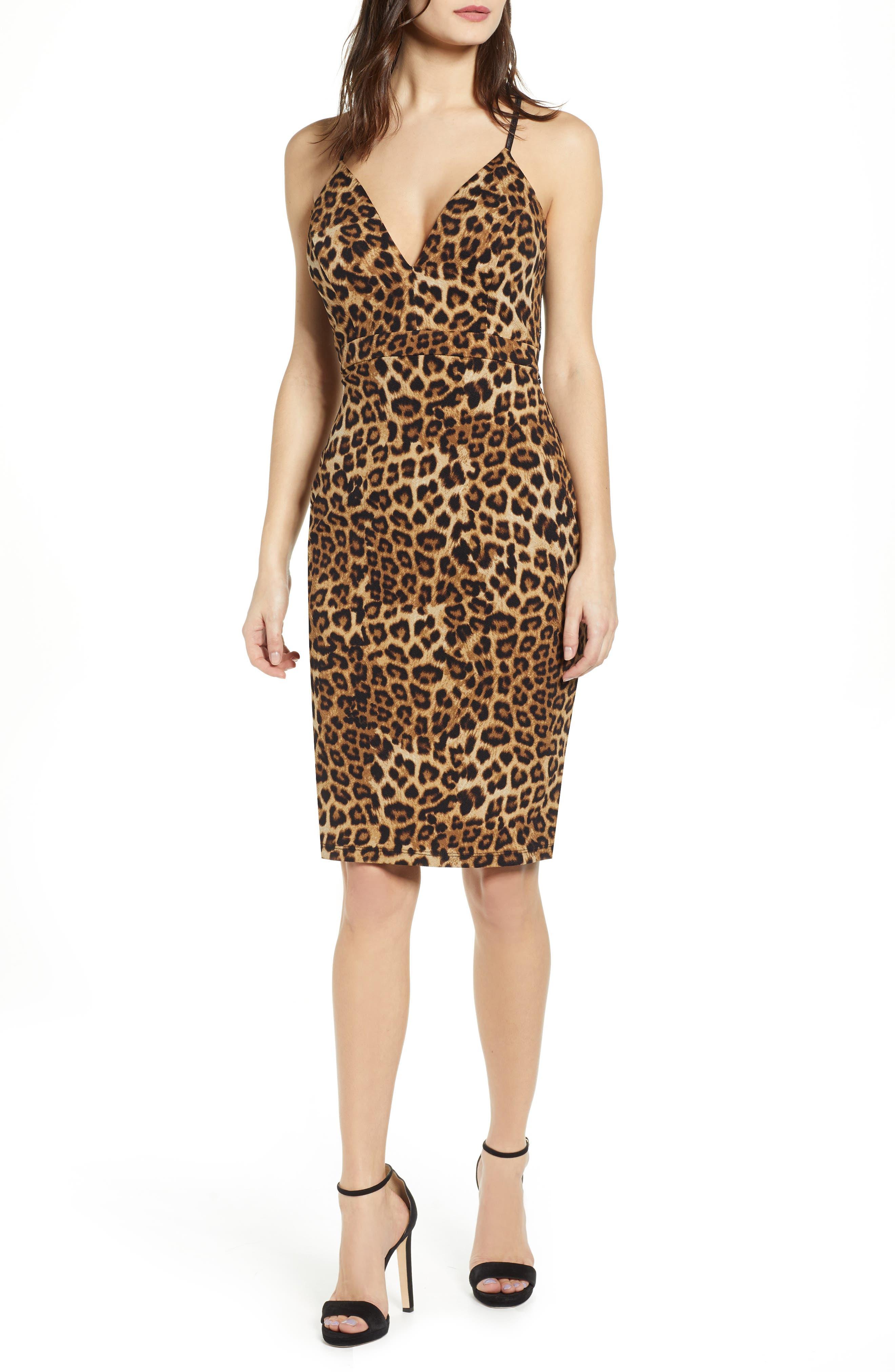 Love, Nickie Lew Leopard Print Lace Back Detail Body-Con Dress, Black