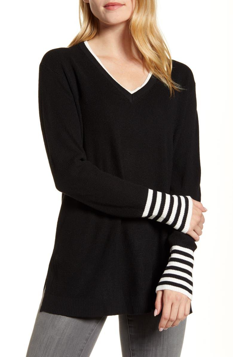 VINCE CAMUTO V-Neck Stripe Cuff Sweater, Main, color, RICH BLACK