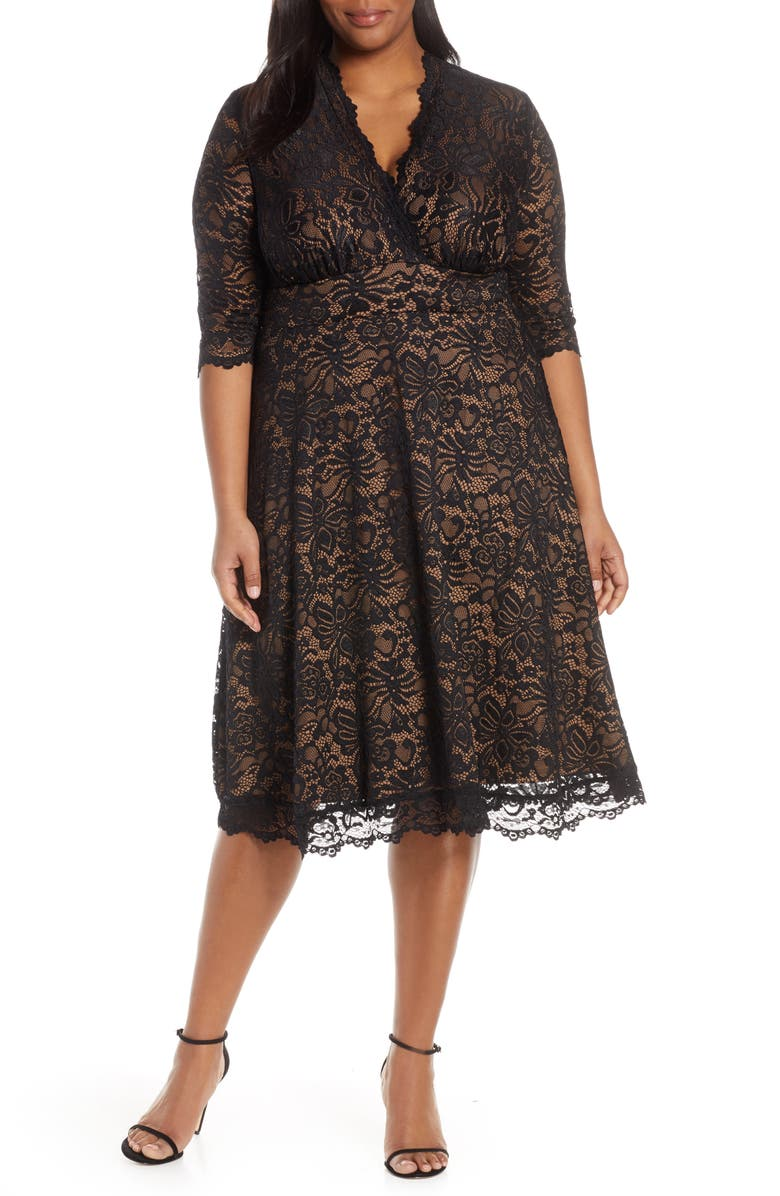 KIYONNA Mademoiselle Lace A-Line Dress, Main, color, BLACK LACE / CARAMEL LINING