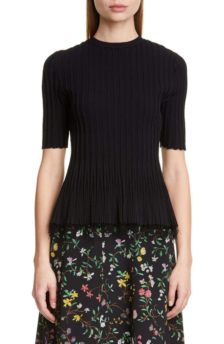ALTUZARRA Frayed Hem Rib Sweater, Main, color, BLACK