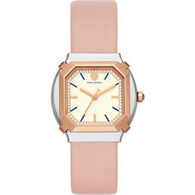 Tory Burch The Blake Leather Strap Watch,