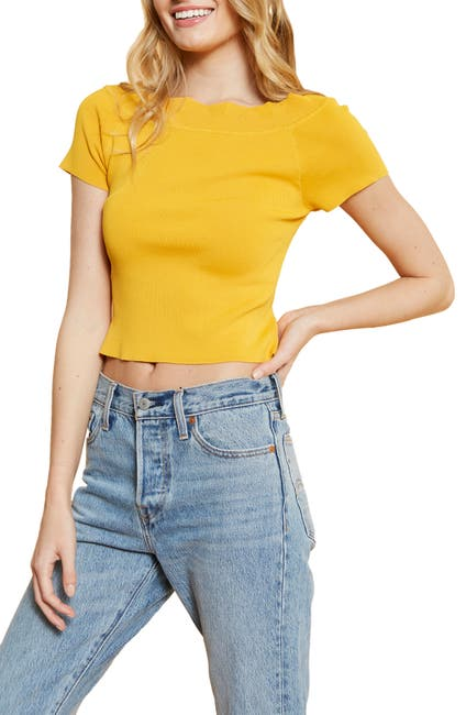Image of 4SI3NNA Alex Scalloped Neck Crop Top