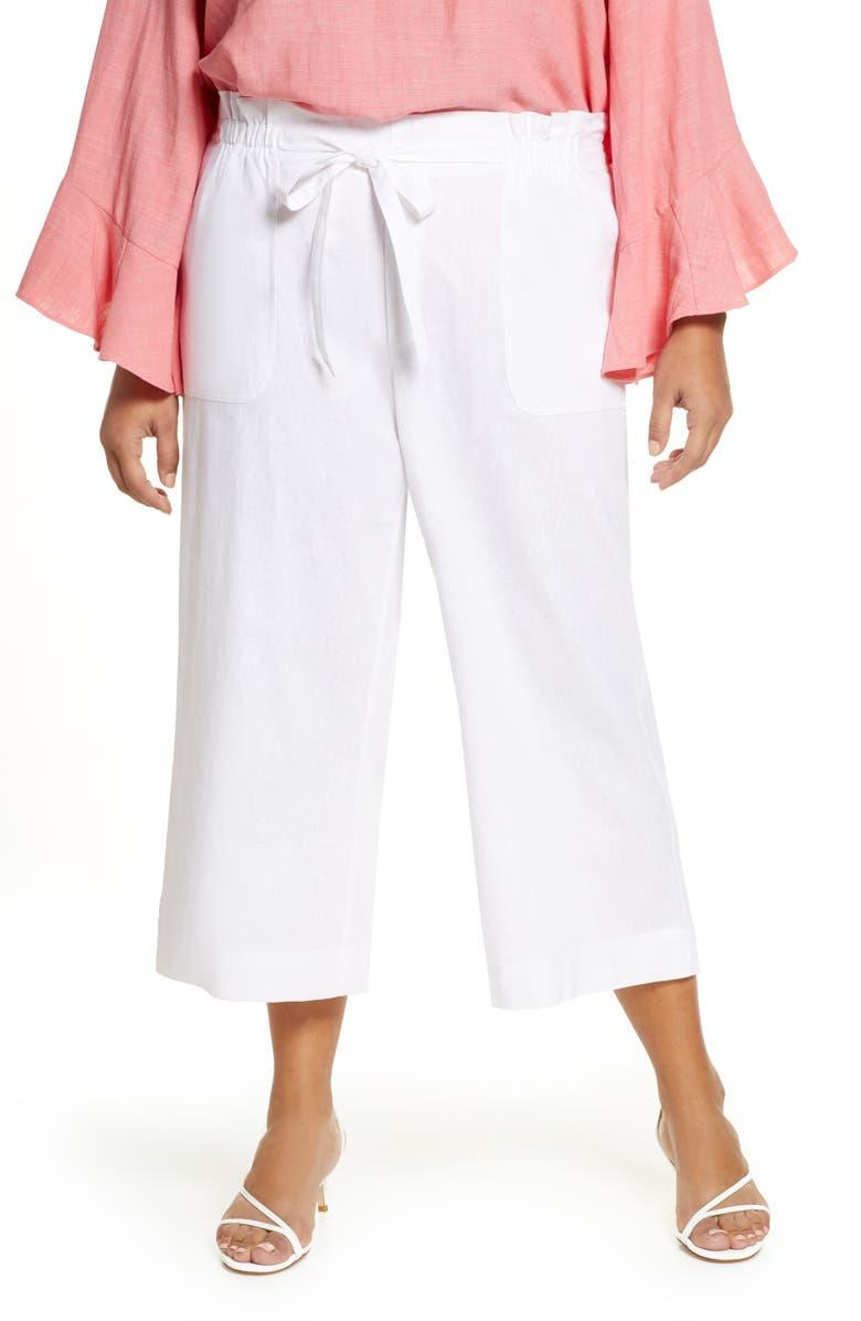 SINGLE THREAD Paperbag Waist Linen & Rayon Blend Pants, Main, color, WHITE
