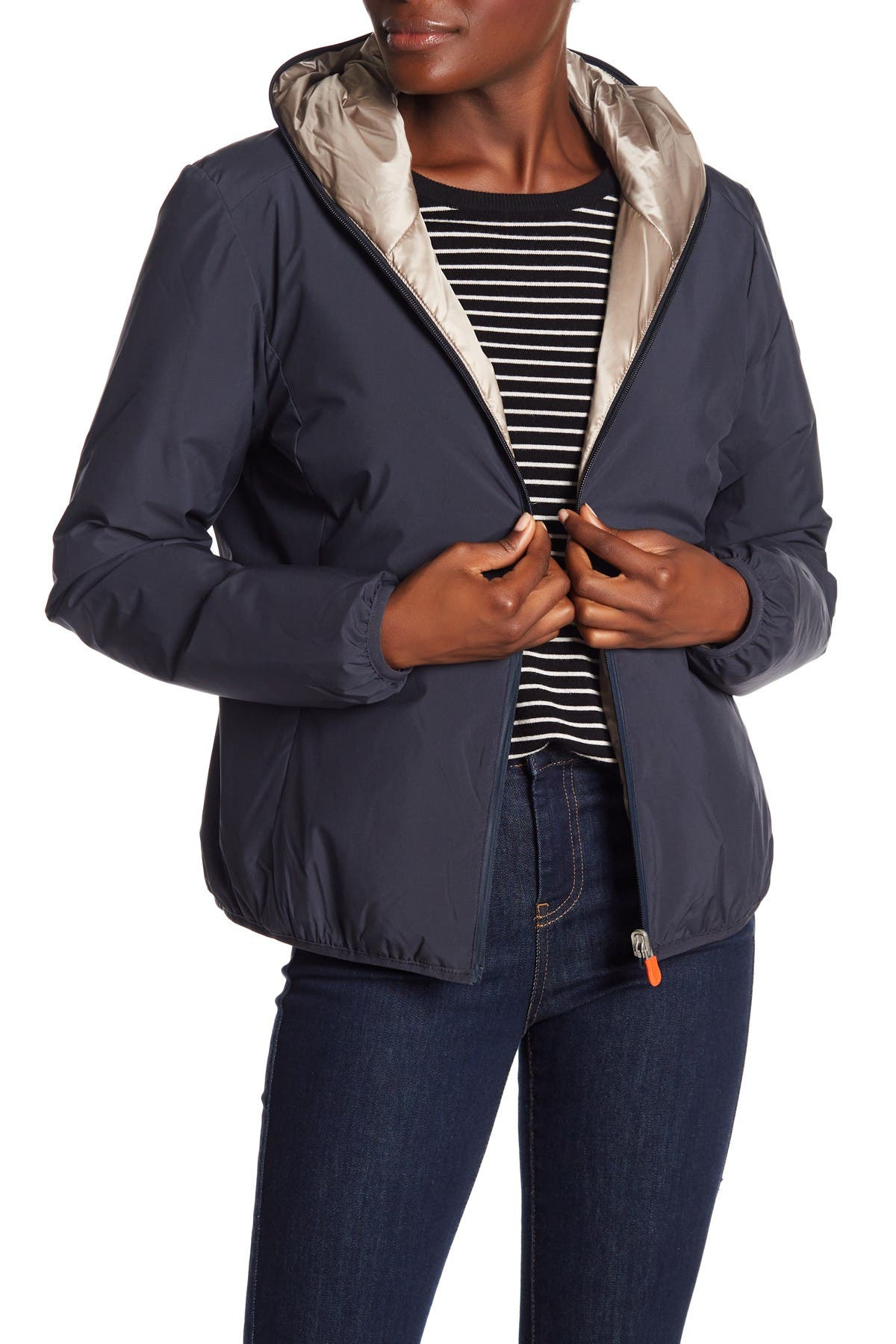 Image of Save The Duck Front Zip Hooded Jacket
