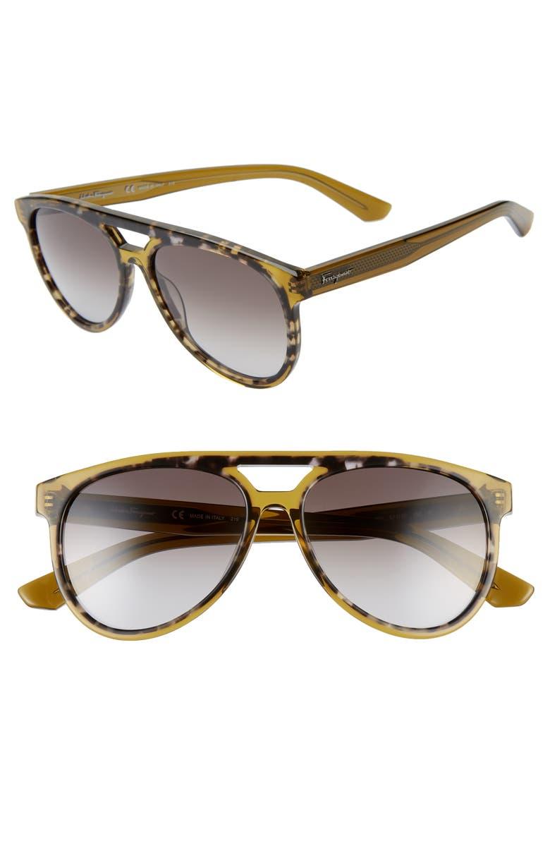 SALVATORE FERRAGAMO 57mm Aviator Sunglasses, Main, color, GREY HAVANA/ BROWN