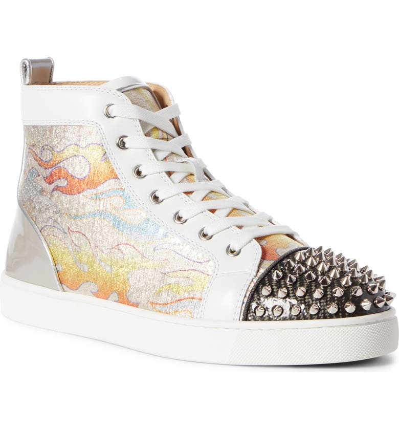CHRISTIAN LOUBOUTIN Lou Spikes High Top Sneaker, Main, color, 040