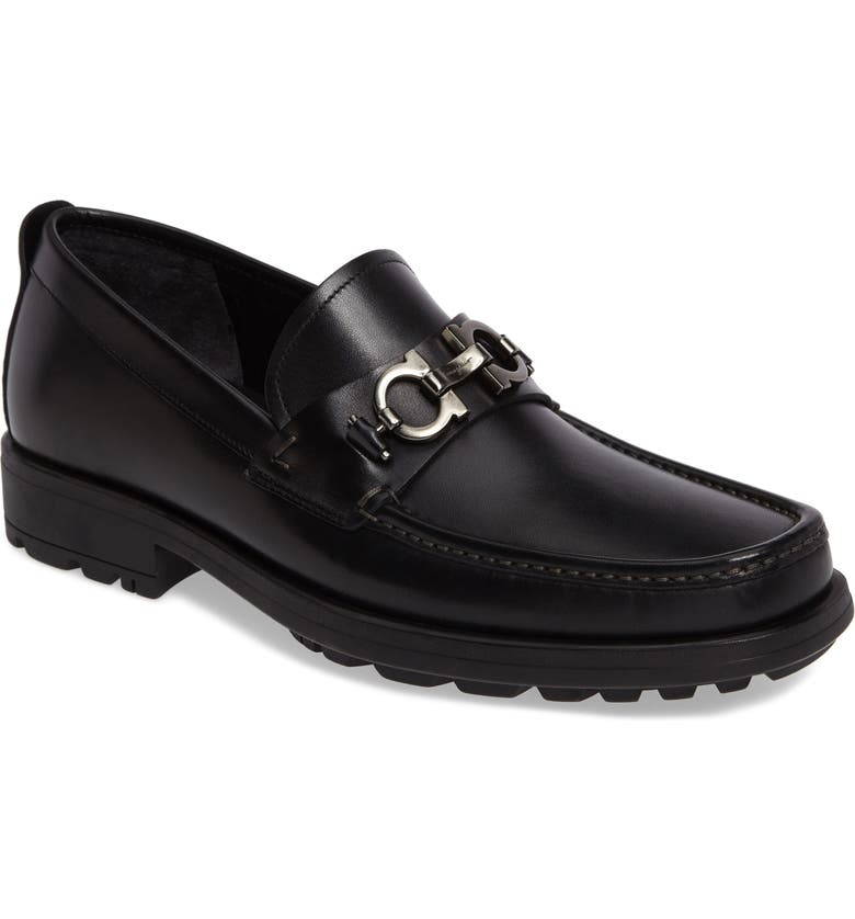 SALVATORE FERRAGAMO David Bit Loafer, Main, color, BLACK LEATHER
