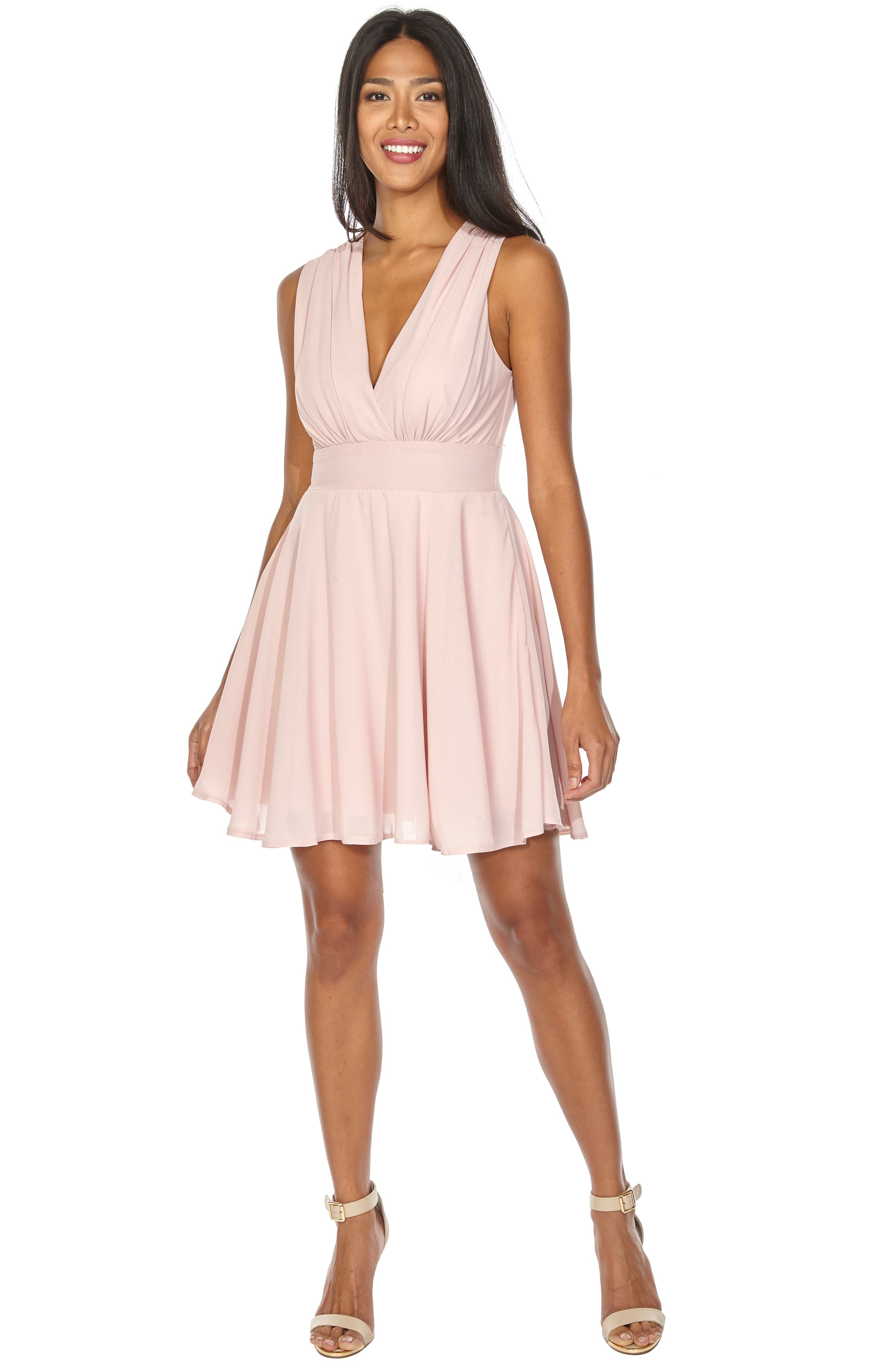,                             V-Neck Fit & Flare Dress,                             Alternate thumbnail 5, color,                             DUSTY PINK