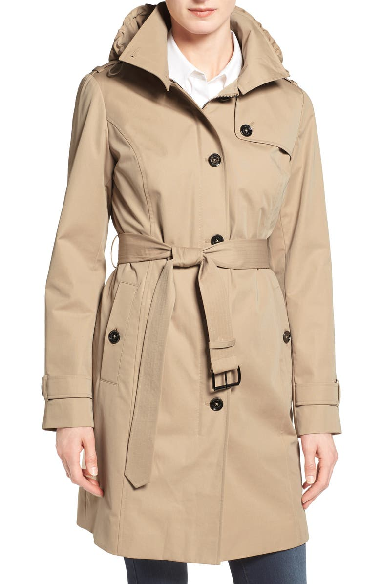 MICHAEL MICHAEL KORS Hooded Trench Coat, Main, color, 252