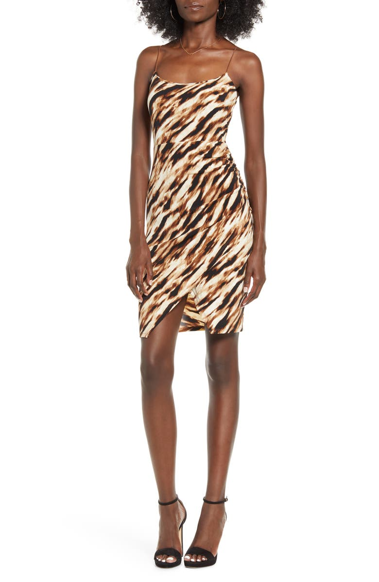 LEITH Ruched Faux Wrap Dress, Main, color, TAN DALE TIGERESS