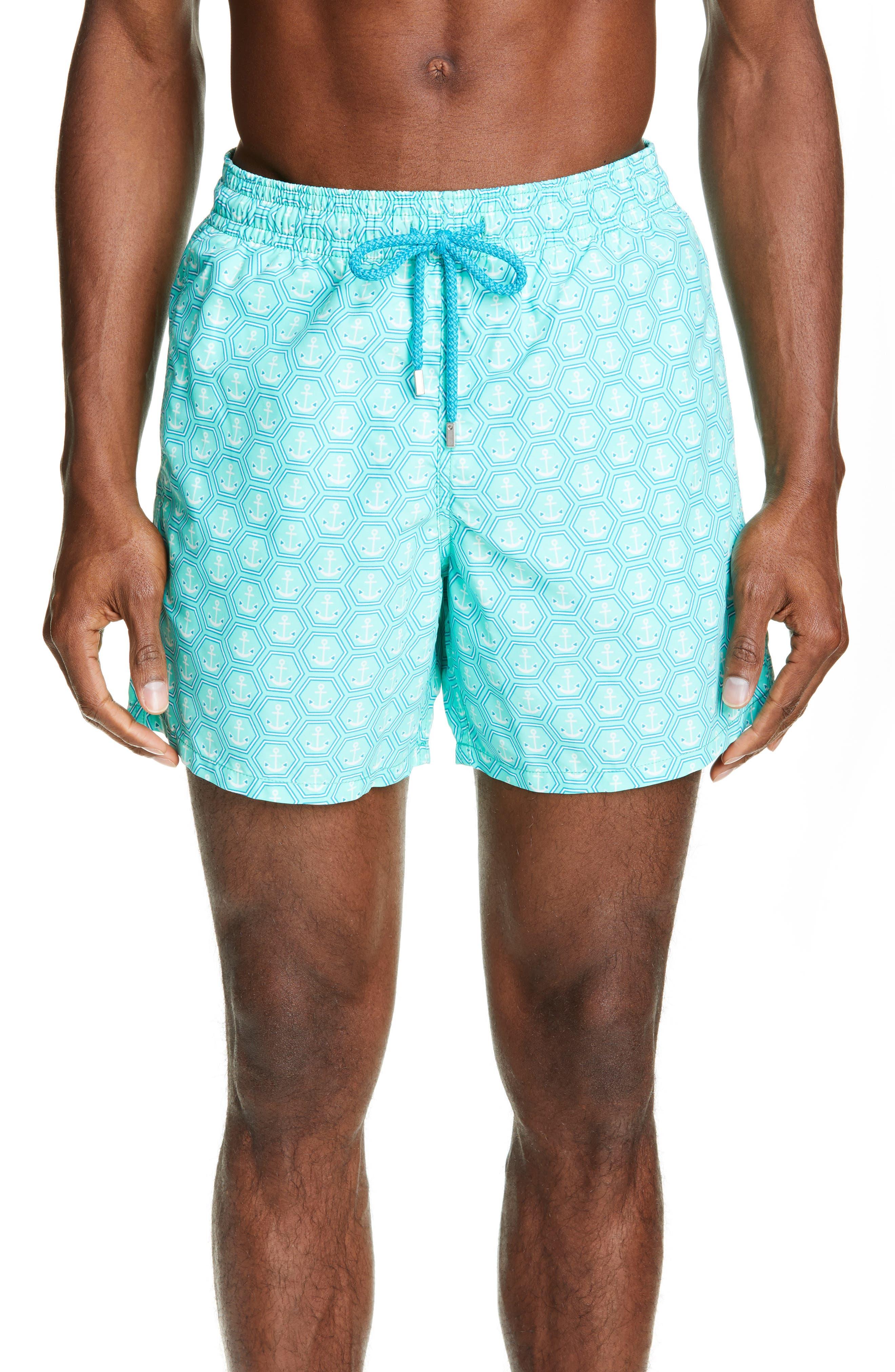 Anchor Print Swim Trunks, Main, color, MENTHE