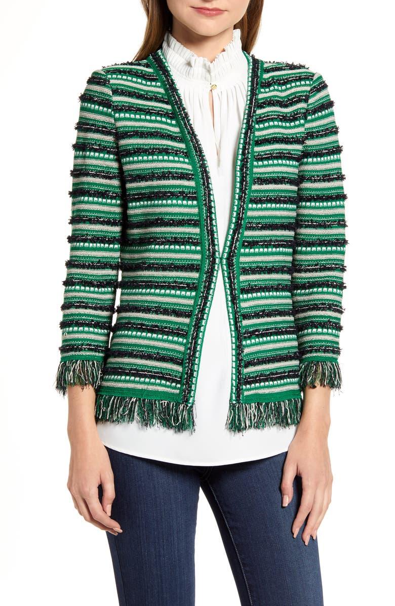 MING WANG Stripe Tweed Knit Jacket, Main, color, MULTI