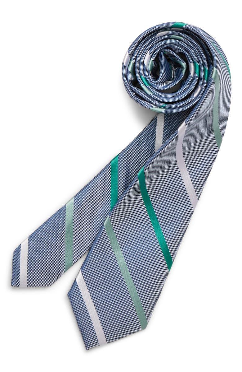 NORDSTROM Ruben Stripe Silk Tie, Main, color, GREEN