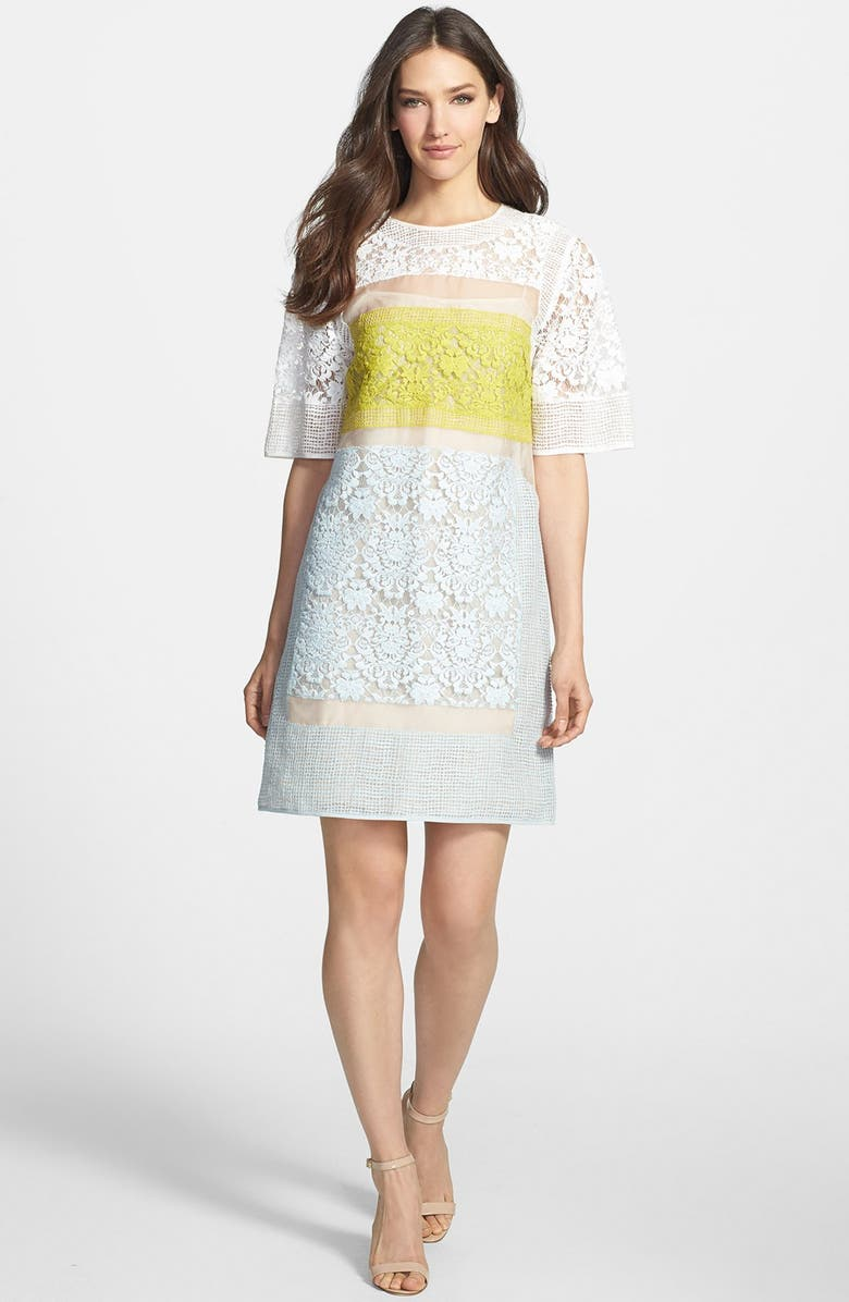 REBECCA TAYLOR Lace Shift Dress, Main, color, 100