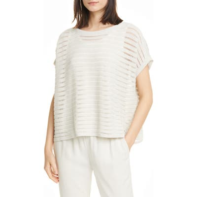 Eileen Fisher Boat Neck Organic Cotton & Recycled Nylon Knit Top, Beige