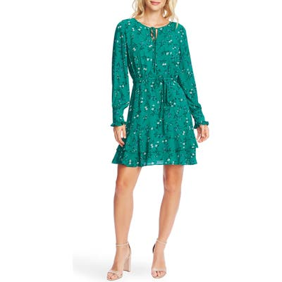 Cece Tossed Floral Long Sleeve Dress, Green