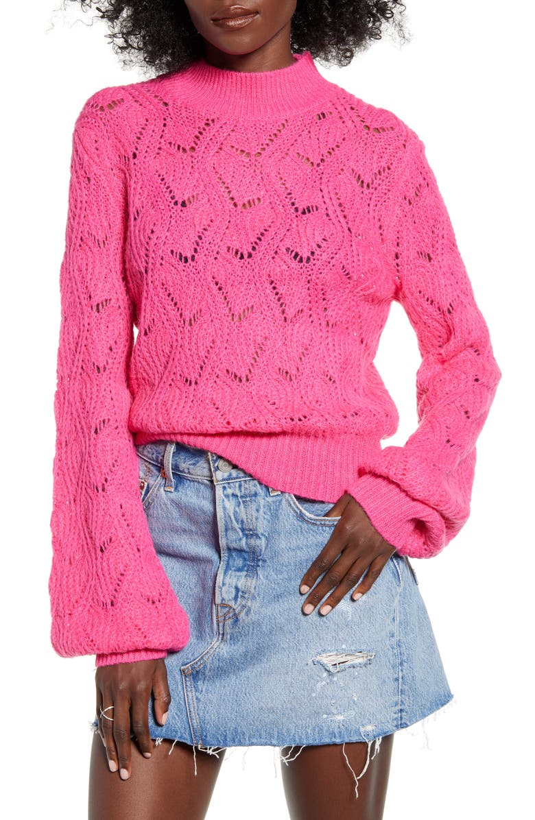 ASTR THE LABEL Pointelle Sweater, Main, color, PINK MAGENTA