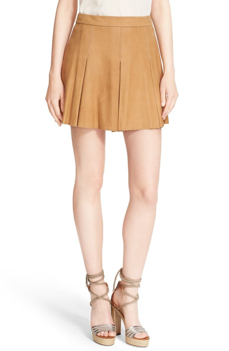 ALICE + OLIVIA 'Lee' Pleated Suede Skirt, Main, color, 200