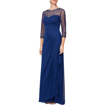 Alex Evenings Embellished Chiffon Gown, Blue