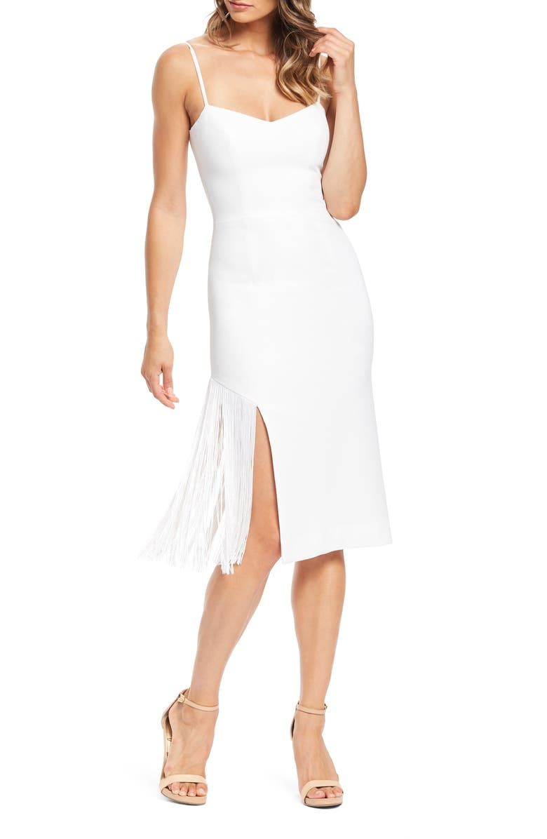 DRESS THE POPULATION Rory Midi Dress, Main, color, OFF WHITE