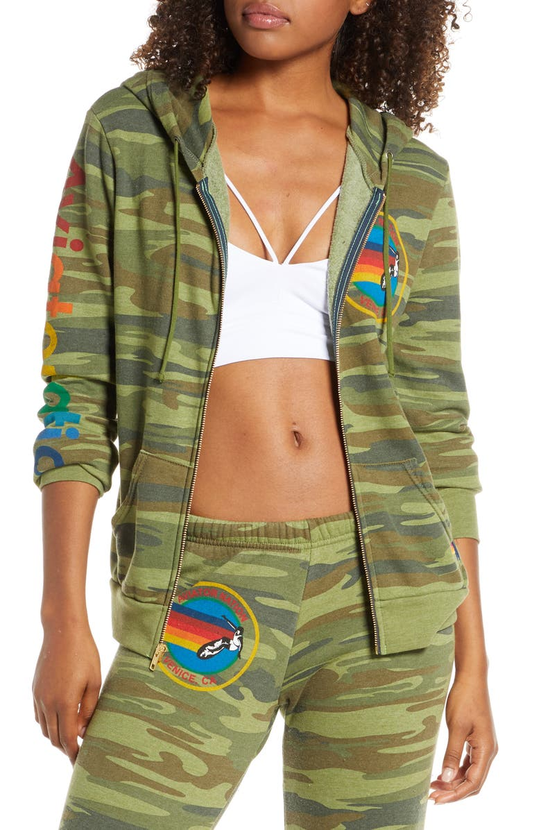 AVIATOR NATION Zip Hoodie, Main, color, CAMO