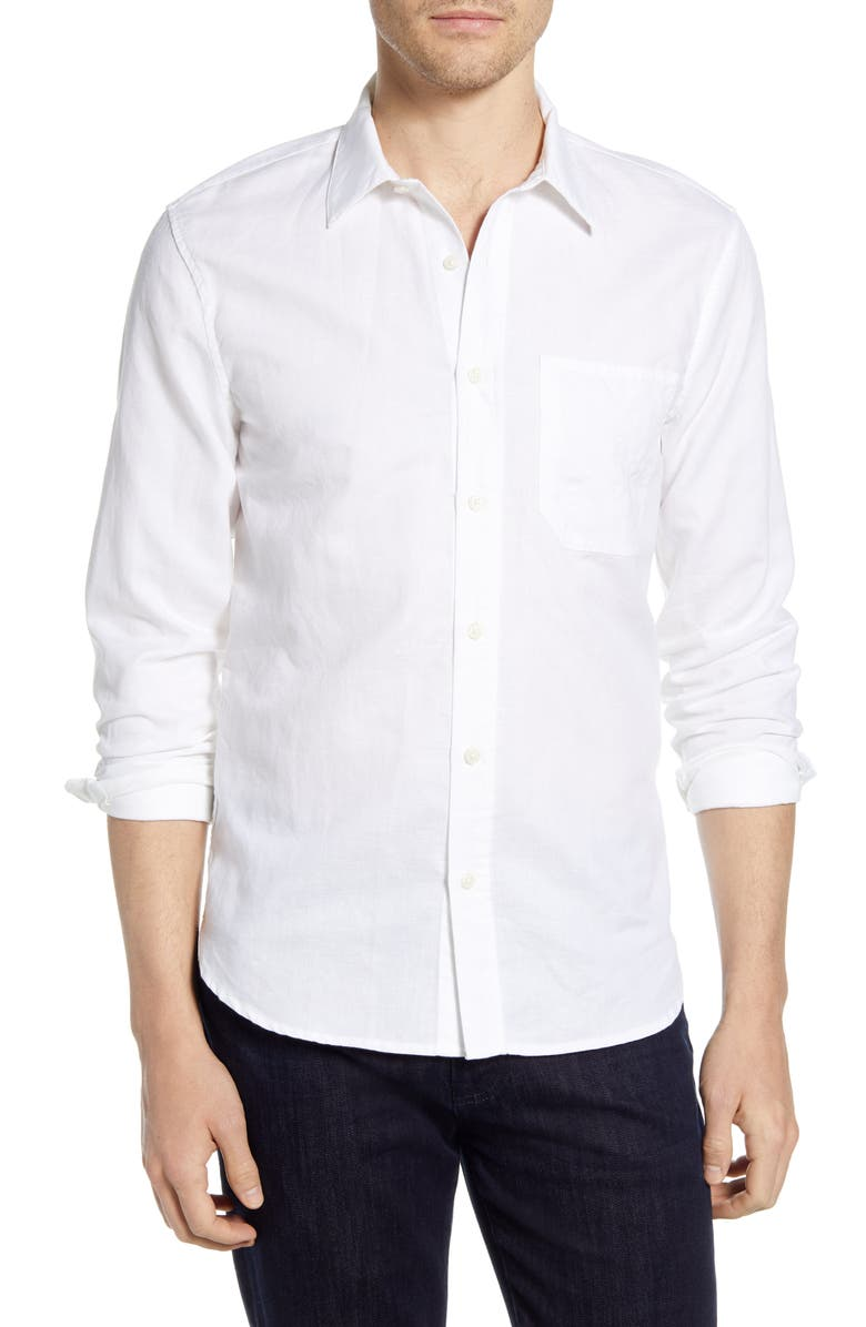 7 FOR ALL MANKIND<SUP>®</SUP> Slim Fit Linen Blend Button-Up Shirt, Main, color, 101