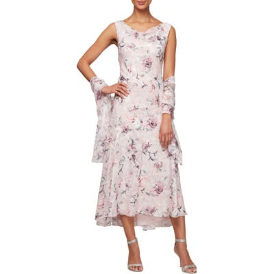 Alex Evenings Floral Burnout High/low Chiffon Dress With Wrap, Pink