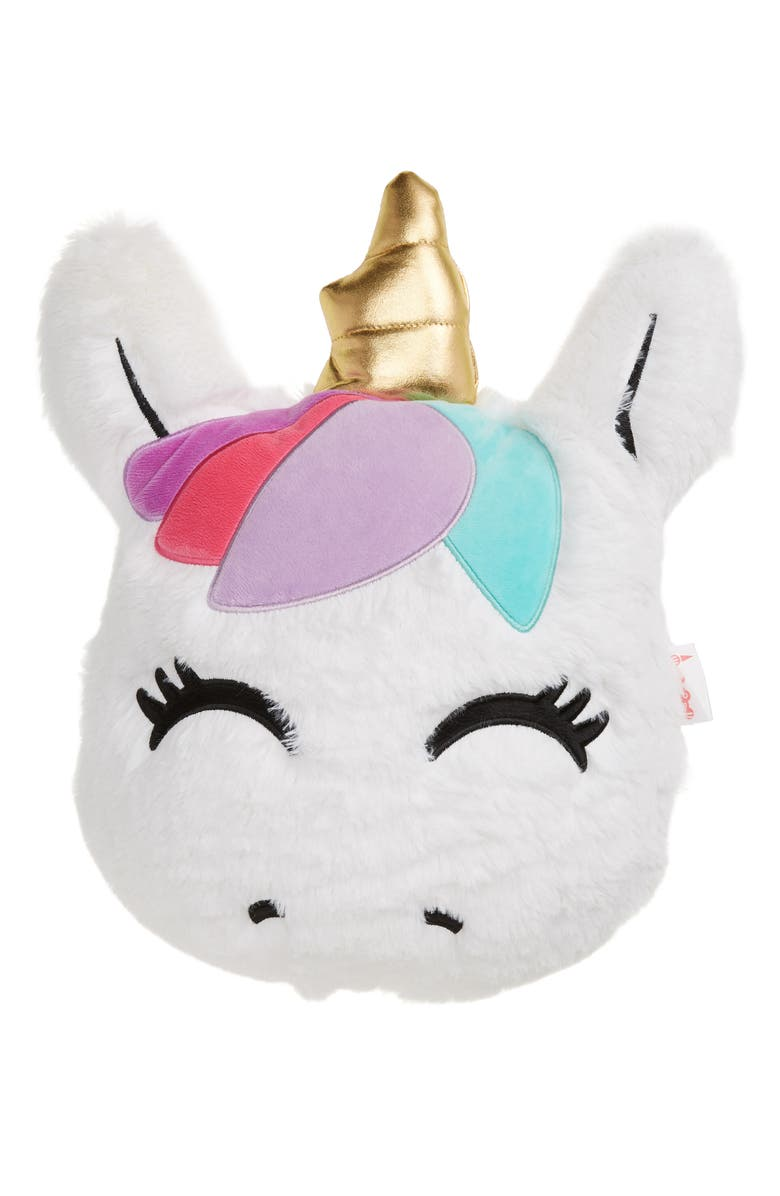 ISCREAM Bubblegum Scented Faux Fur Unicorn Pillow, Main, color, WHITE