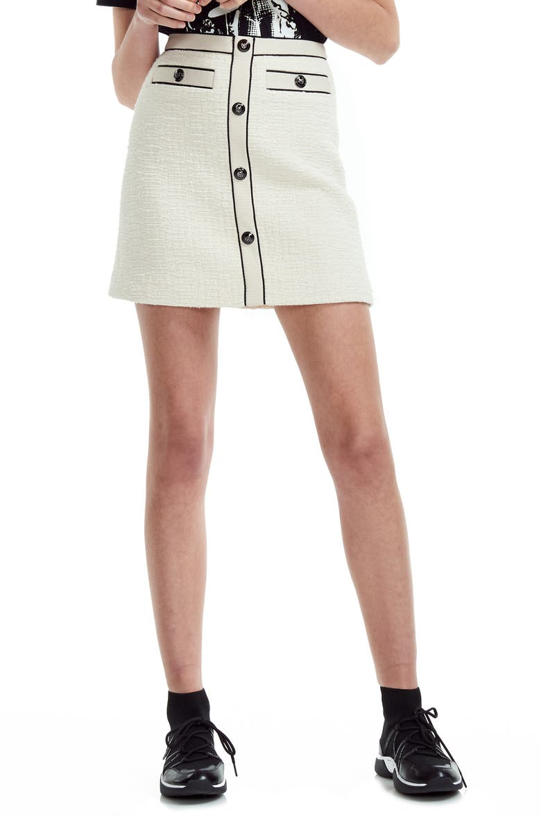 MAJE Joppy Cotton Tweed Miniskirt, Main, color, 900