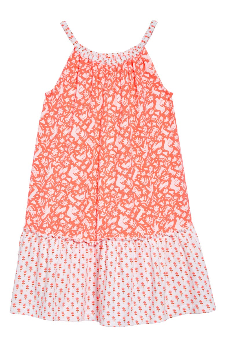 MINI BODEN Hopscotch Halter Dress, Main, color, FLAMINGO PINK FOLK FRIENDS